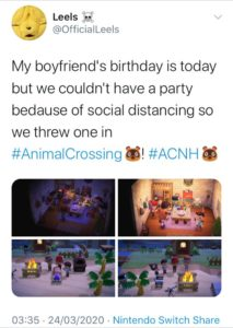 People celebrating a Birthday through Animal Crossing