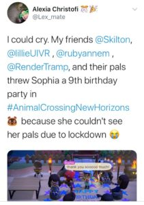 People celebrating a Birthday party through Animal Crossing
