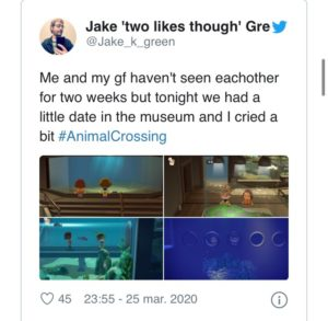 Couple having a date through Animal Crossing