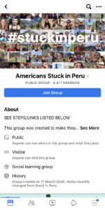 Stuck in Peru Facebook group created by people who are stranded there