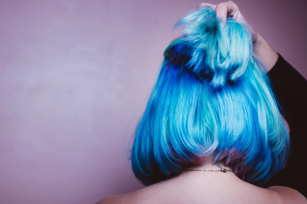 back of woman's head. Blue hair put in a half bun. Dyed hair