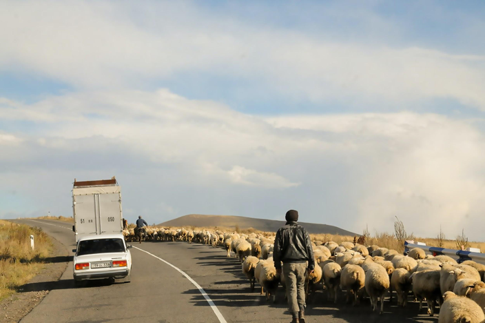 Person walking on road in Armenia.