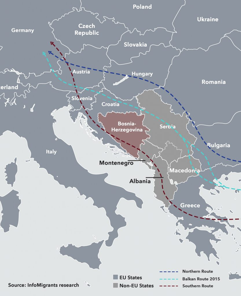 Map of migrant and refugee routes through Balkans and Bosnia towards Germany.