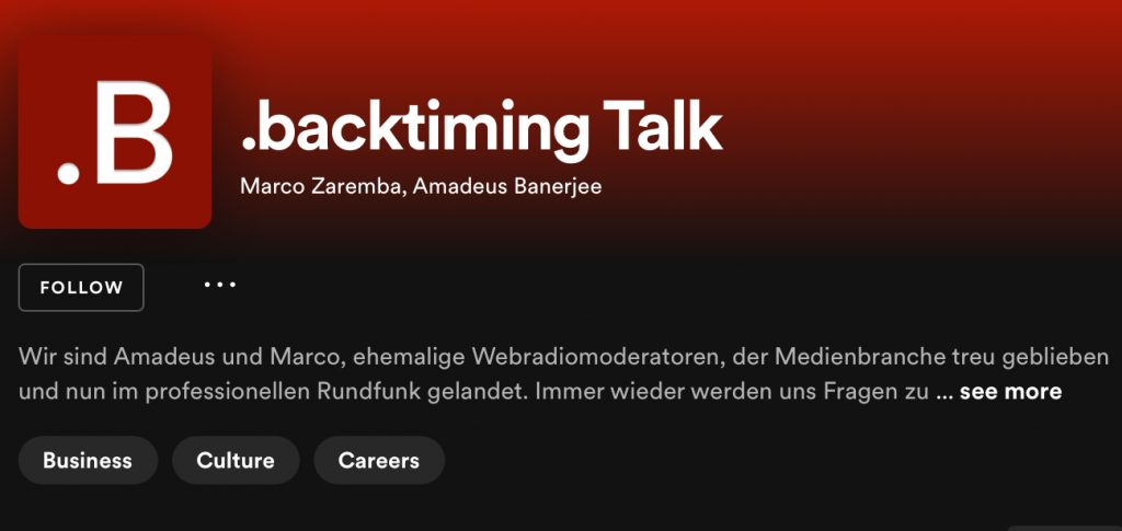 """Available on Spotify and other streaming providers: the German radio podcast """".backtiming"""". Source: Max Tenschert"""
