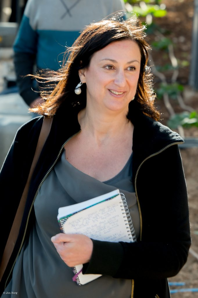 This photograph was clicked when Daphne Caruana Galizia was reporting on Panama Papers protests in Valletta, Malta