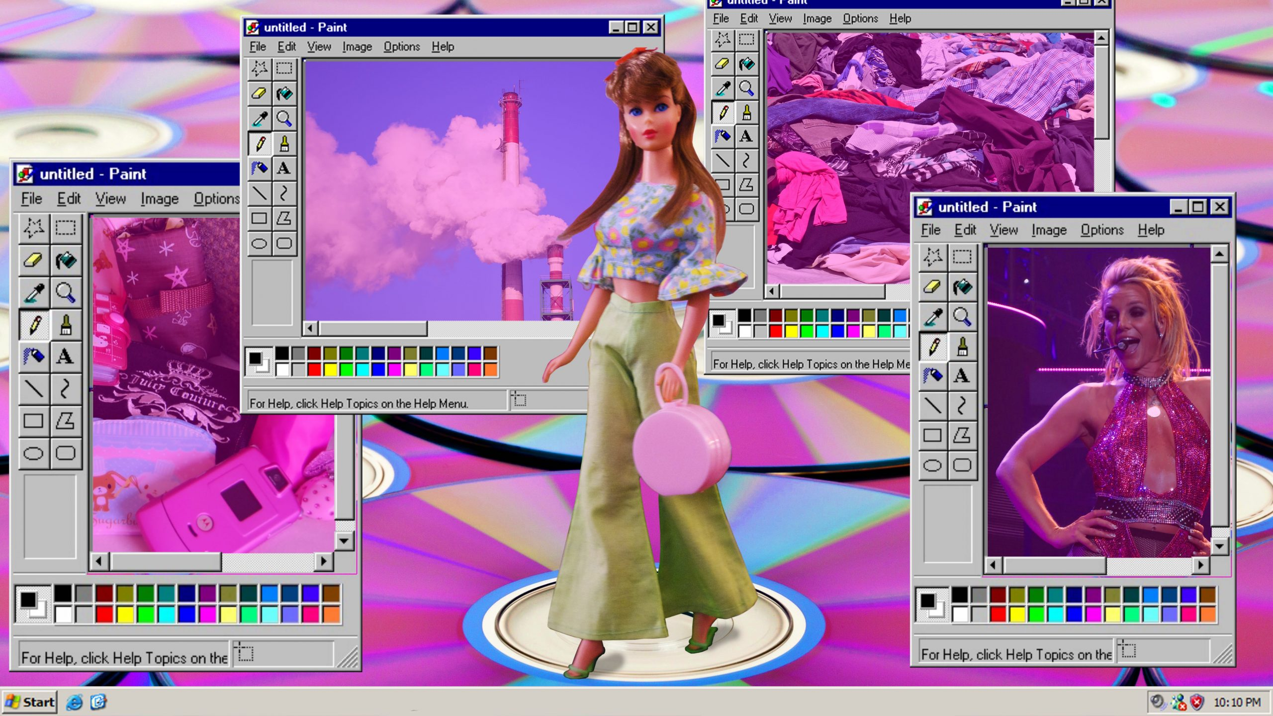 An amalgamation of y2k aesthetic elements, such as kitsch barbie, hot pink tones, holographics, and imminent climate disaster.